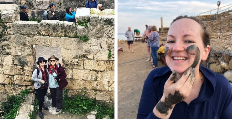 Above: With mum, Suzanne, at ruins from Pool of Bethesda (L) and (R) having a nice Dead-Sea-Mud facial!
